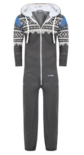 Men's Unisex Aztec Grey Brushed Fleece Zip Up Playsuit Jumpsuit All In One Hooded Onesie